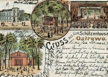 Strzelnica i przylegający do niej ogród na litograficznej pocztówce wydanej ok. 1900 roku, MMOW 02266-08